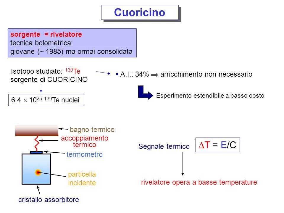 Cuoricino DT = E/C sorgente = rivelatore tecnica bolometrica: