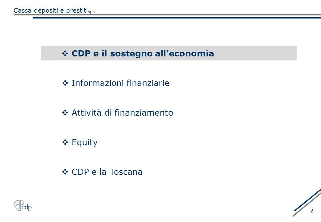 CDP e il sostegno all'economia
