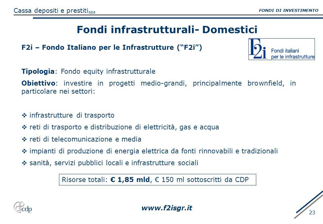 Fondi infrastrutturali- Domestici
