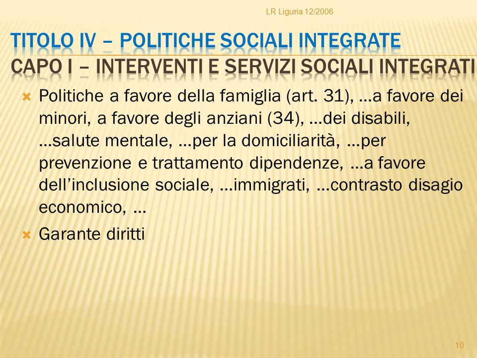 LR Liguria 12/2006 Titolo IV – Politiche sociali integrate Capo I – Interventi e servizi sociali integrati.