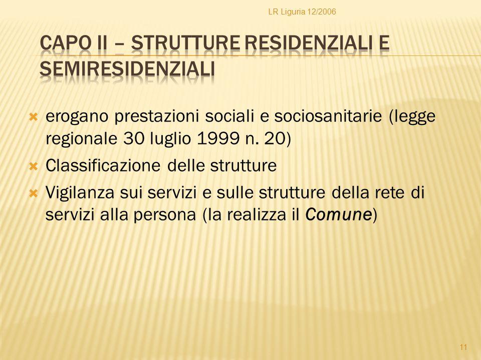 Capo II – Strutture residenziali e semiresidenziali