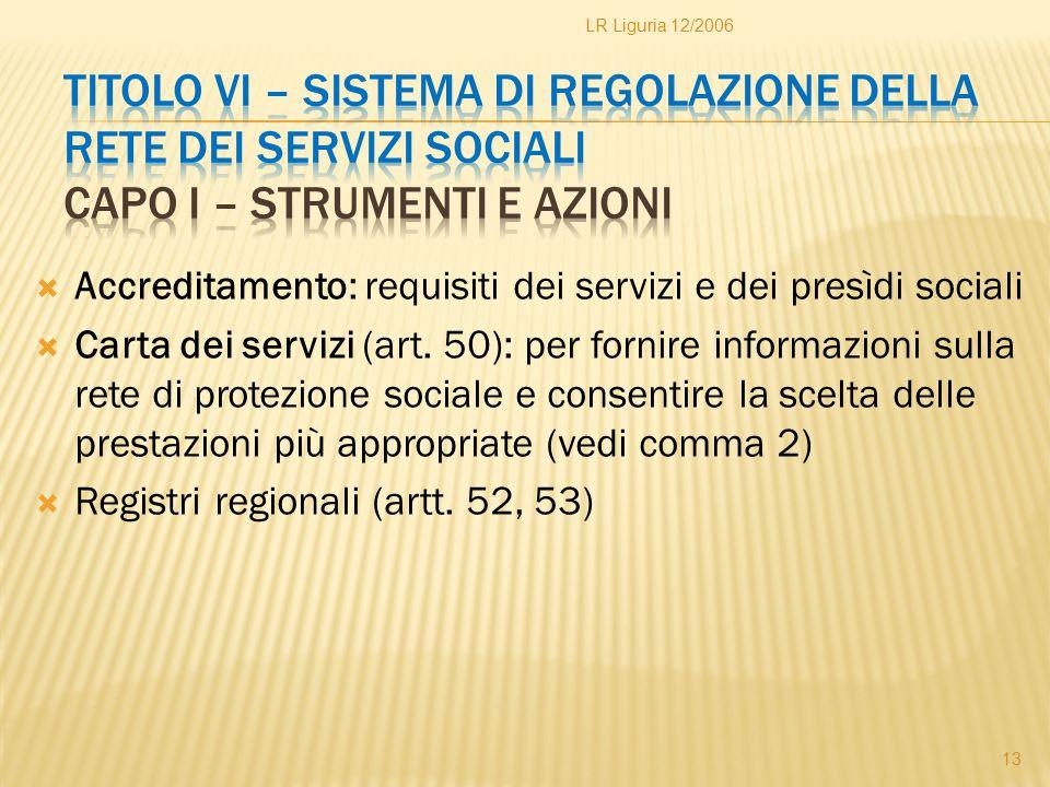 LR Liguria 12/2006 Titolo VI – Sistema di regolazione della rete dei servizi sociali Capo I – Strumenti e azioni.