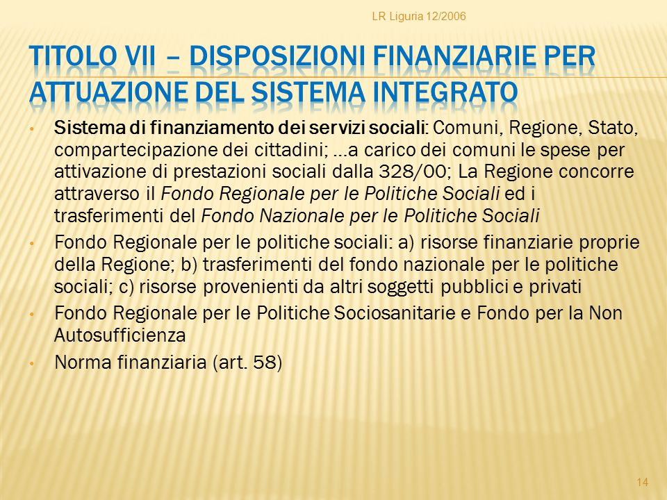 LR Liguria 12/2006 Titolo VII – Disposizioni finanziarie per attuazione del sistema integrato.