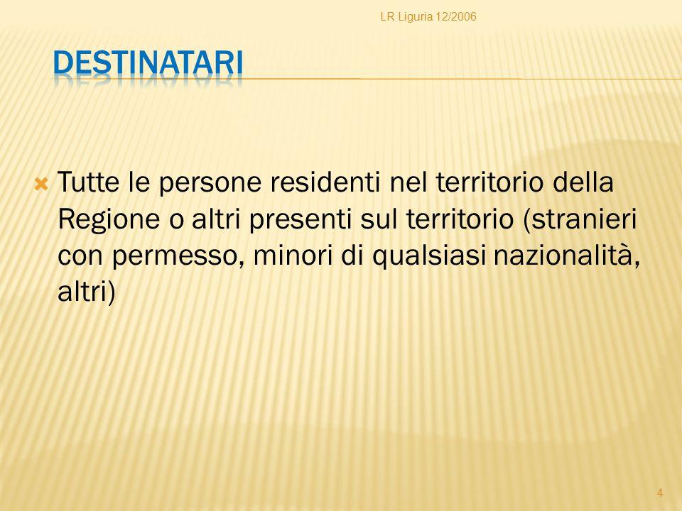 LR Liguria 12/2006 Destinatari.