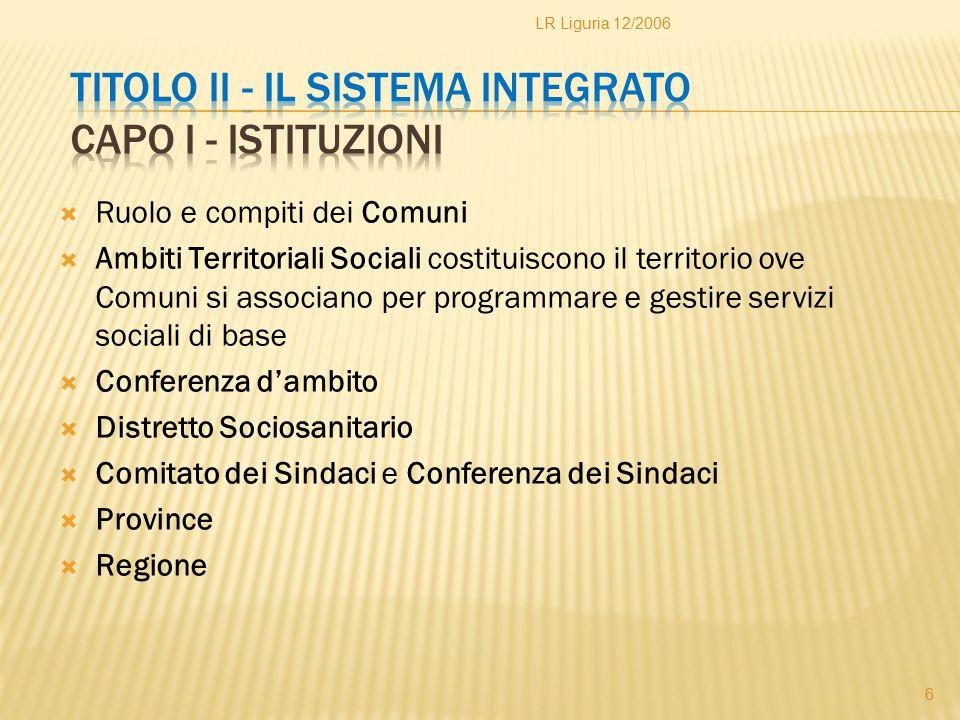 Titolo II - Il sistema integrato Capo I - Istituzioni