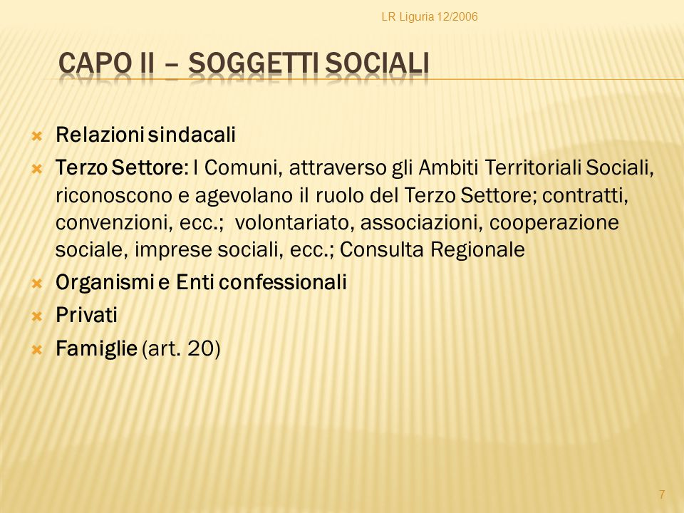 Capo II – Soggetti sociali
