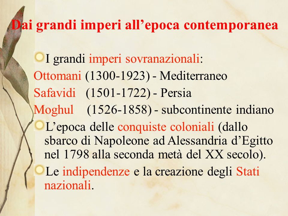 Dai grandi imperi all'epoca contemporanea