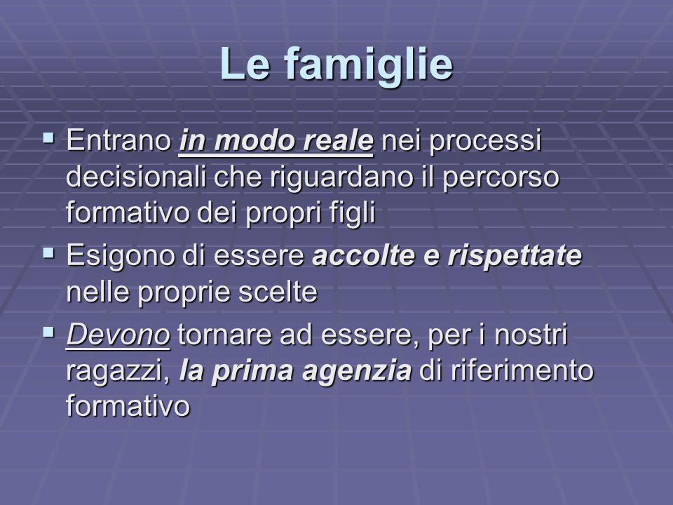 Le famiglie Entrano in modo reale nei processi decisionali che riguardano il percorso formativo dei propri figli.