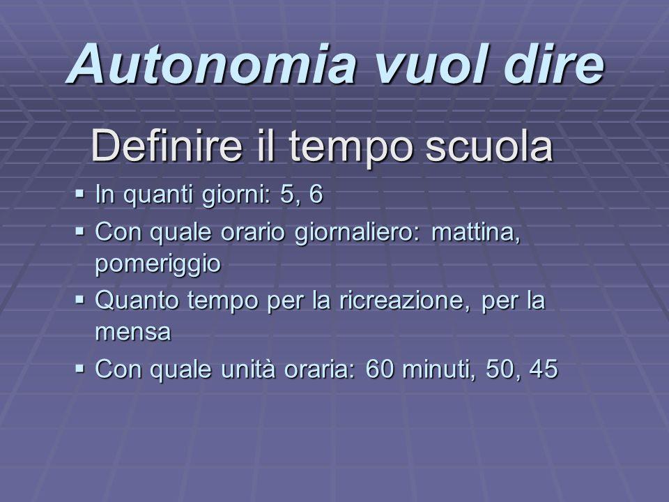 Autonomia vuol dire Definire il tempo scuola In quanti giorni: 5, 6