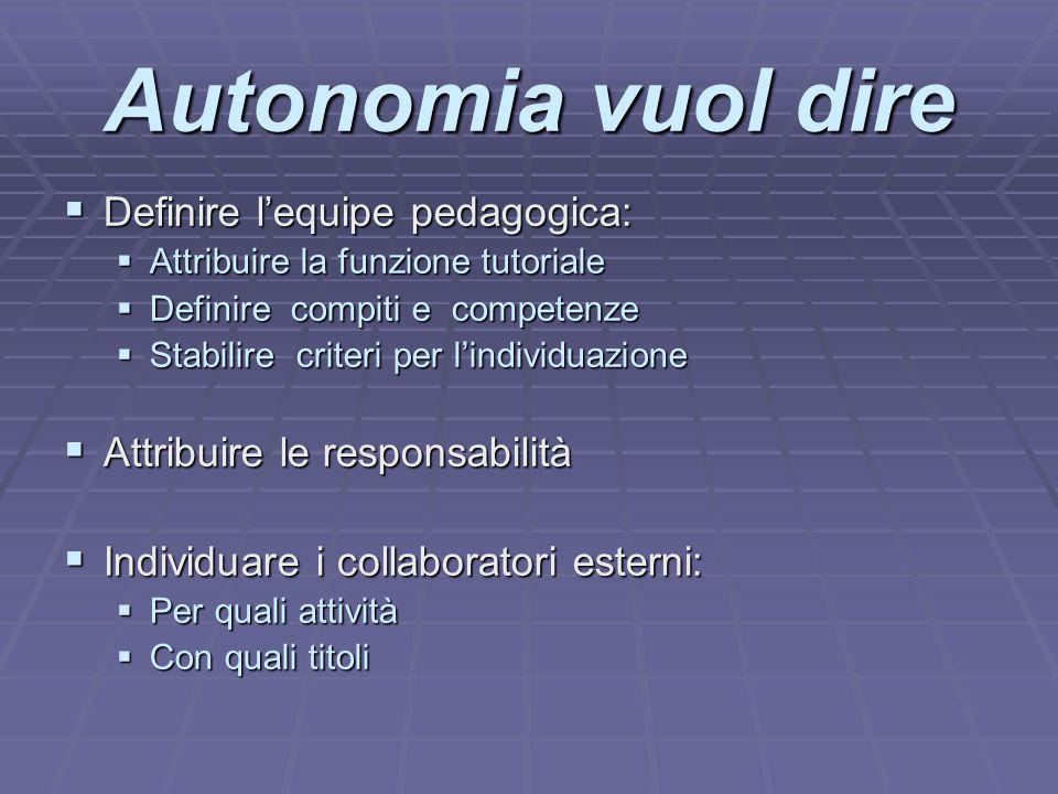 Autonomia vuol dire Definire l'equipe pedagogica: