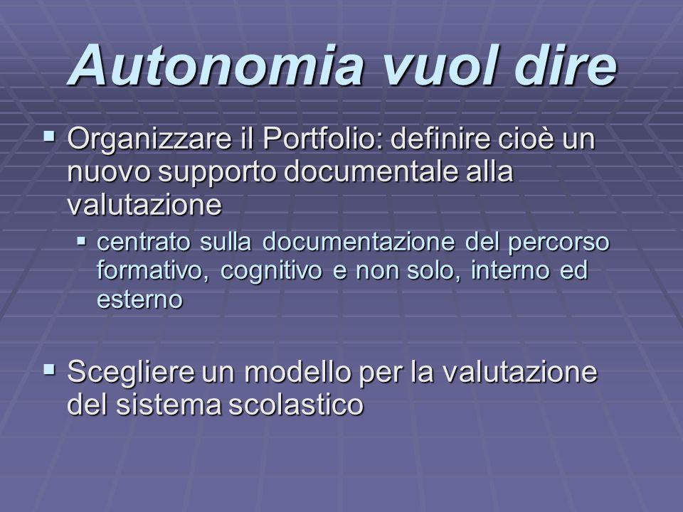 Autonomia vuol dire Organizzare il Portfolio: definire cioè un nuovo supporto documentale alla valutazione.
