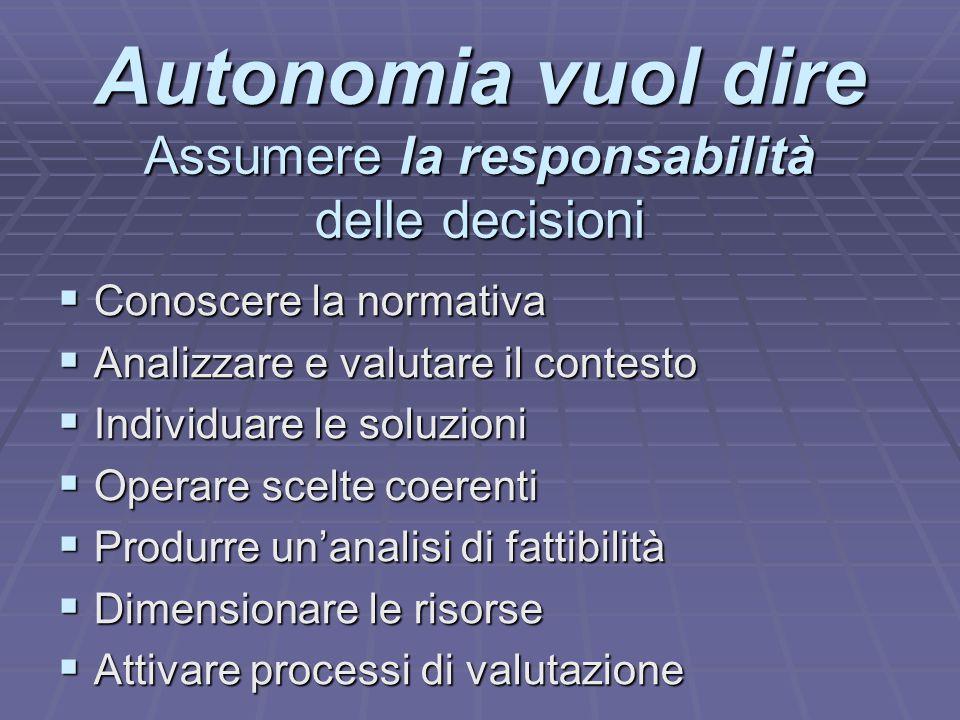 Autonomia vuol dire Assumere la responsabilità delle decisioni