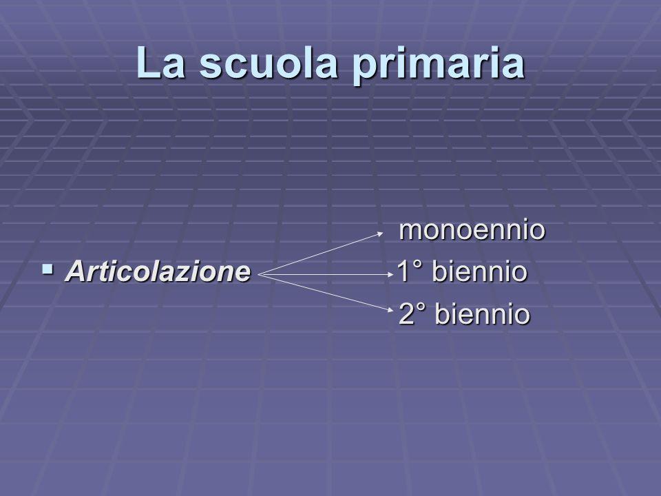 La scuola primaria monoennio Articolazione 1° biennio 2° biennio