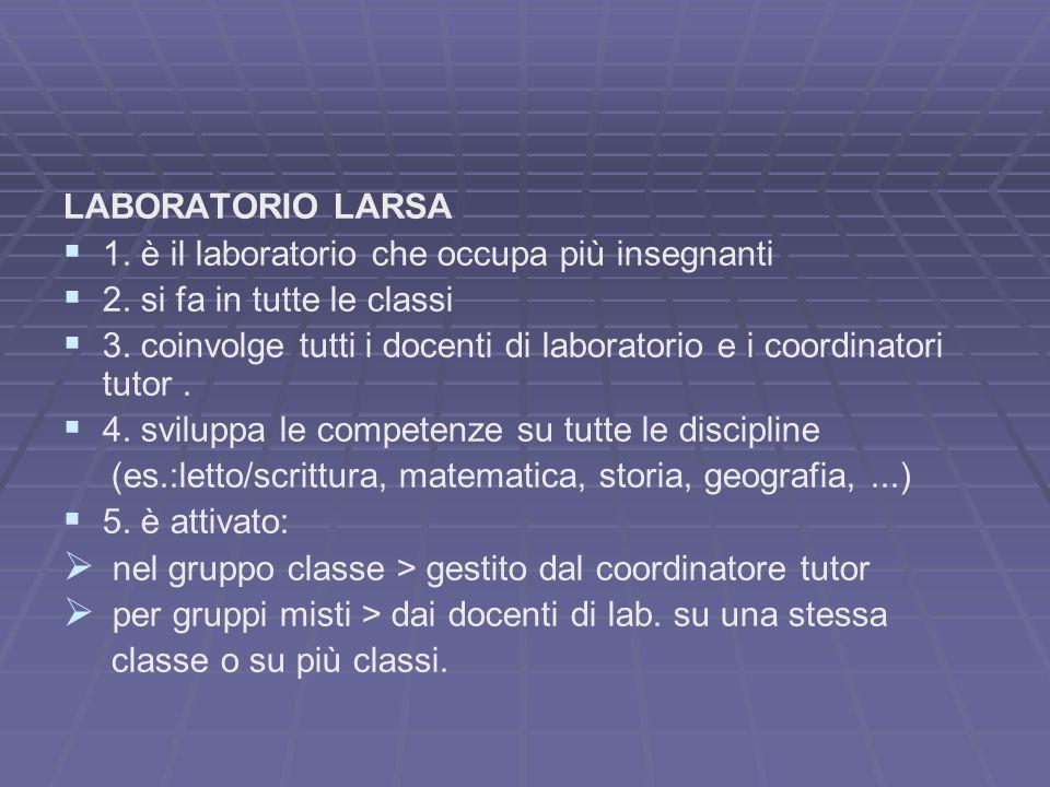 LABORATORIO LARSA 1. è il laboratorio che occupa più insegnanti. 2. si fa in tutte le classi.