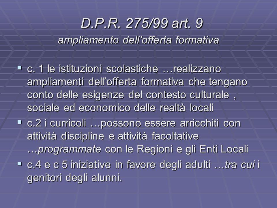 D.P.R. 275/99 art. 9 ampliamento dell'offerta formativa