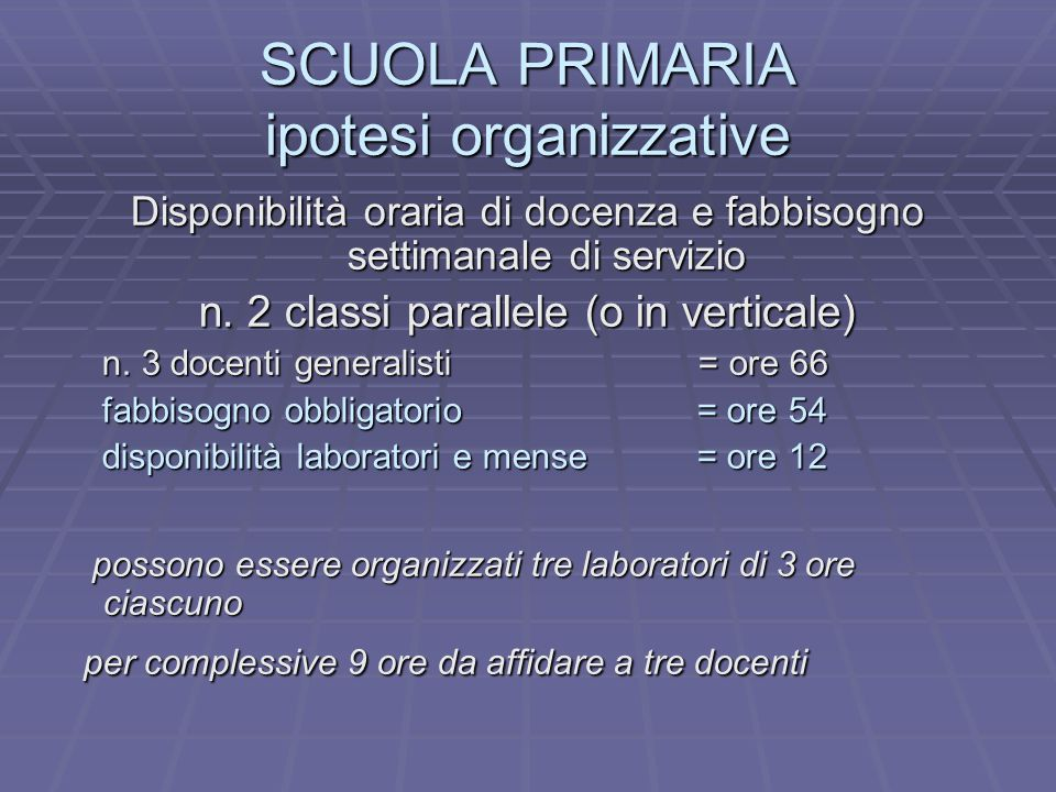 SCUOLA PRIMARIA ipotesi organizzative