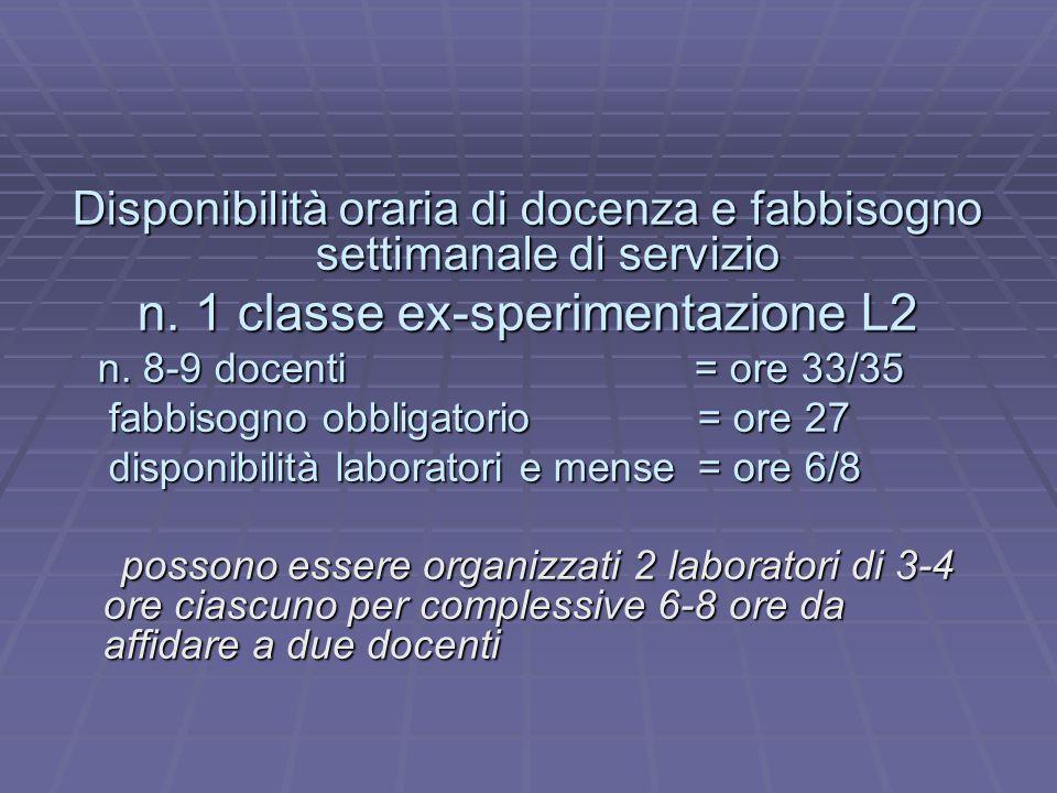 n. 1 classe ex-sperimentazione L2