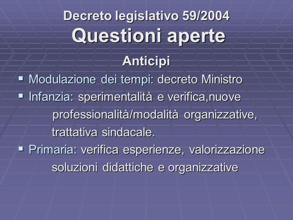 Decreto legislativo 59/2004 Questioni aperte
