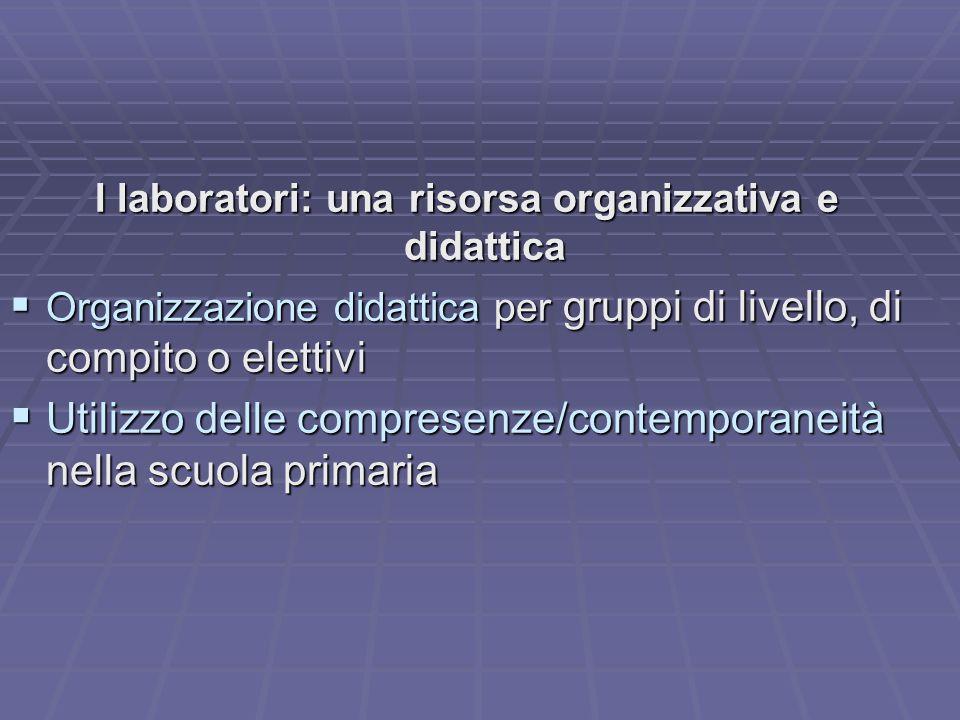 I laboratori: una risorsa organizzativa e didattica
