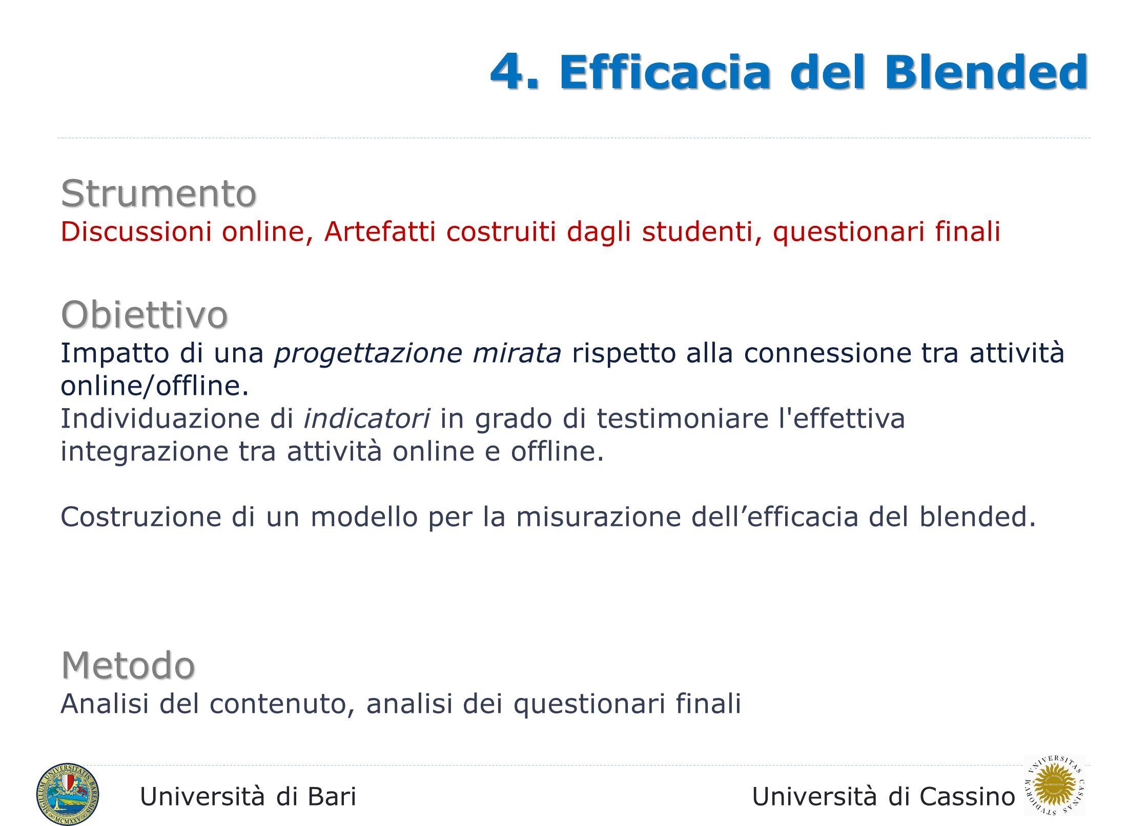 4. Efficacia del Blended Strumento Obiettivo Metodo