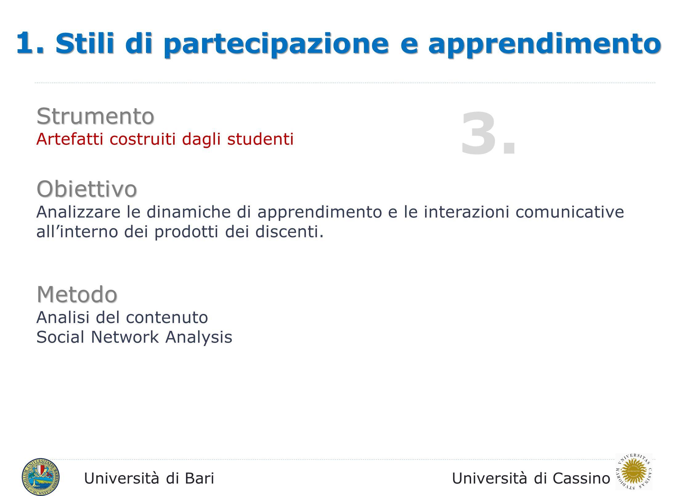 3. 1. Stili di partecipazione e apprendimento Strumento Obiettivo