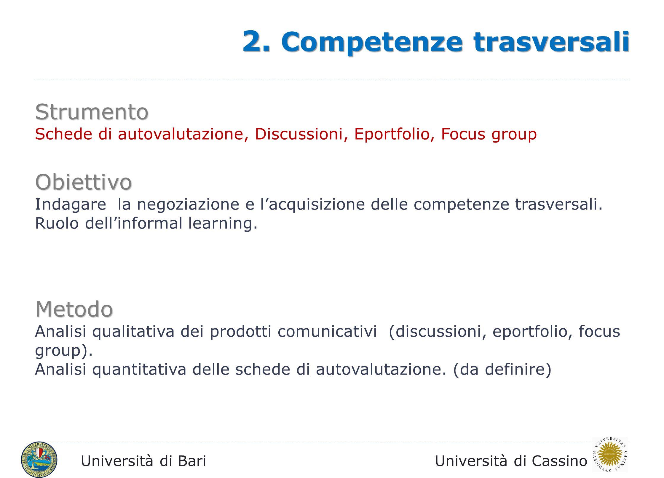 2. Competenze trasversali
