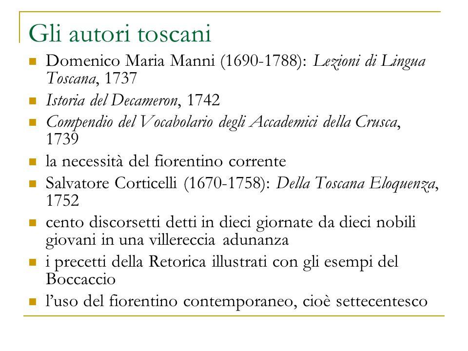 Gli autori toscani Domenico Maria Manni (1690-1788): Lezioni di Lingua Toscana, 1737. Istoria del Decameron, 1742.