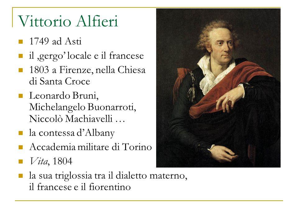 Vittorio Alfieri 1749 ad Asti il 'gergo' locale e il francese