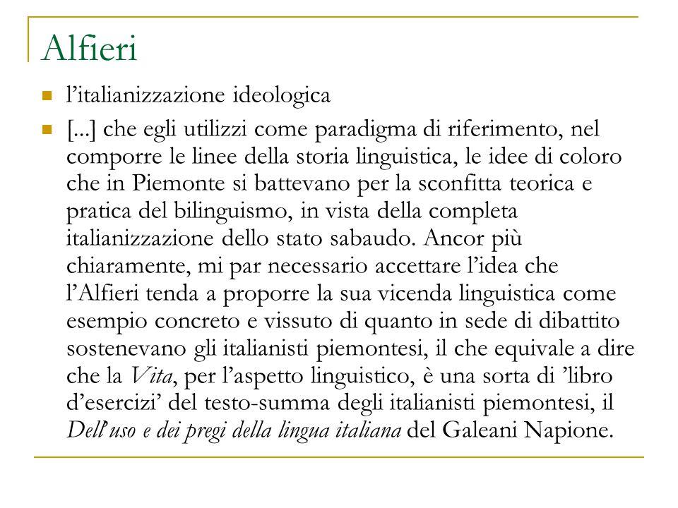 Alfieri l'italianizzazione ideologica