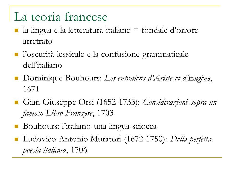 La teoria francese la lingua e la letteratura italiane = fondale d'orrore arretrato. l'oscurità lessicale e la confusione grammaticale dell'italiano.