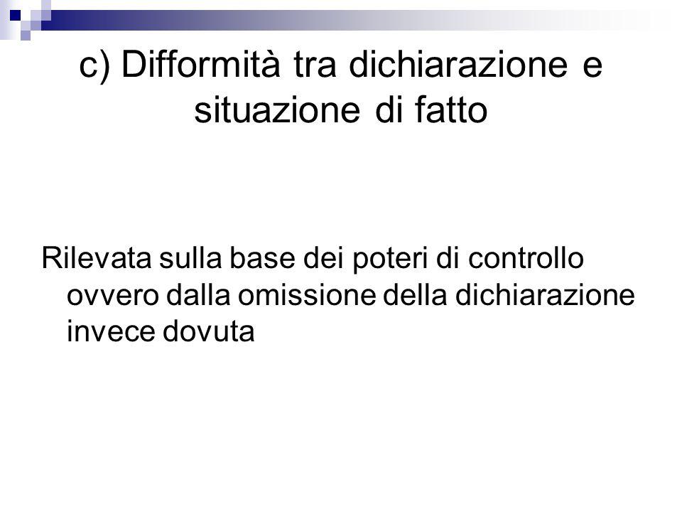 c) Difformità tra dichiarazione e situazione di fatto