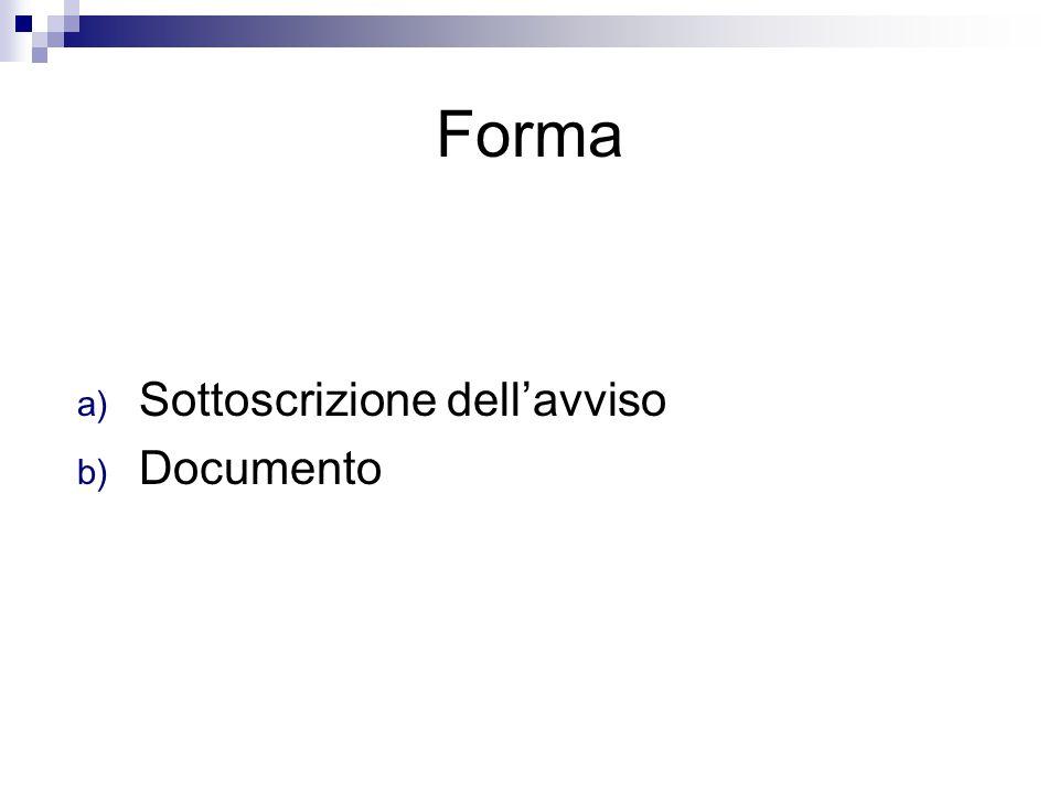 Forma Sottoscrizione dell'avviso Documento