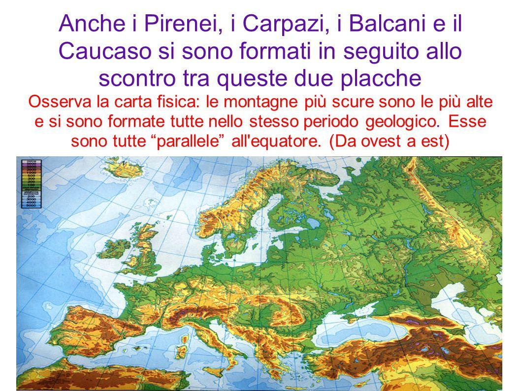 Anche i Pirenei, i Carpazi, i Balcani e il Caucaso si sono formati in seguito allo scontro tra queste due placche Osserva la carta fisica: le montagne più scure sono le più alte e si sono formate tutte nello stesso periodo geologico.