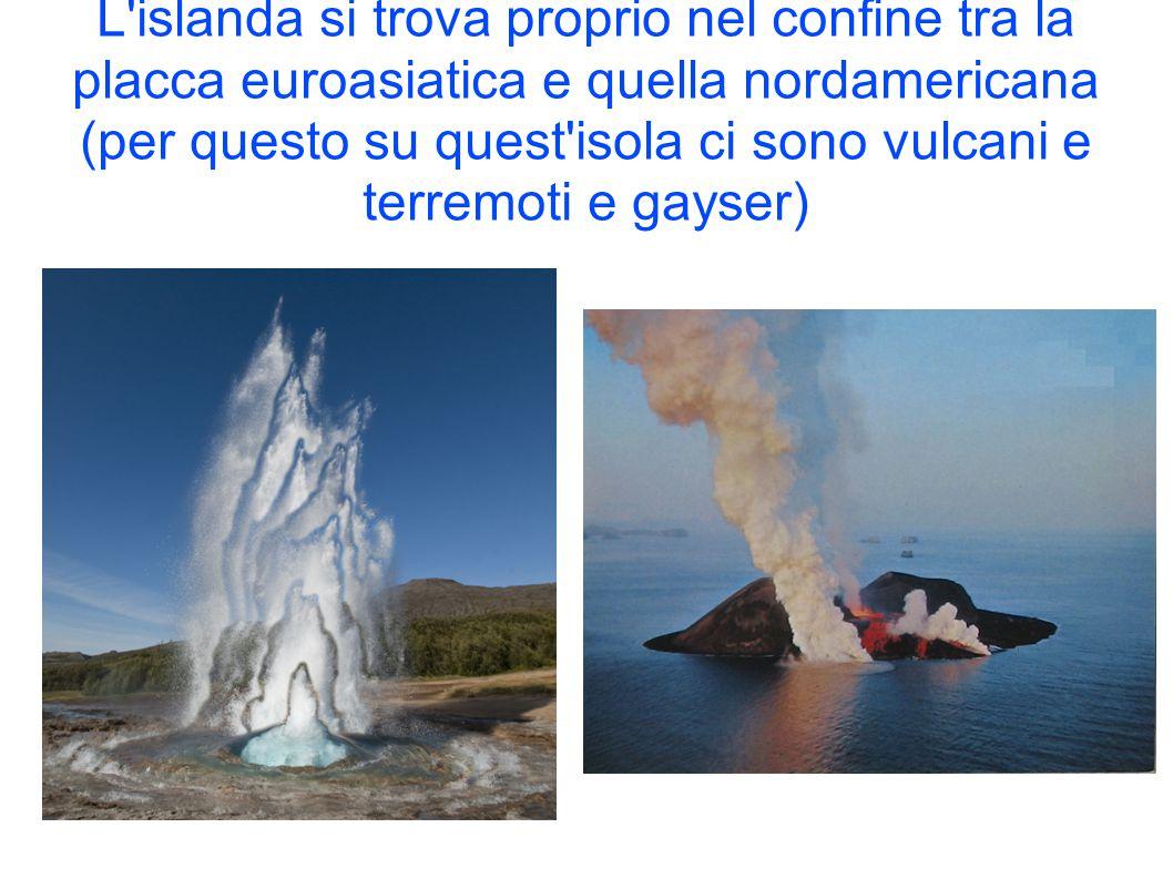 L islanda si trova proprio nel confine tra la placca euroasiatica e quella nordamericana (per questo su quest isola ci sono vulcani e terremoti e gayser)