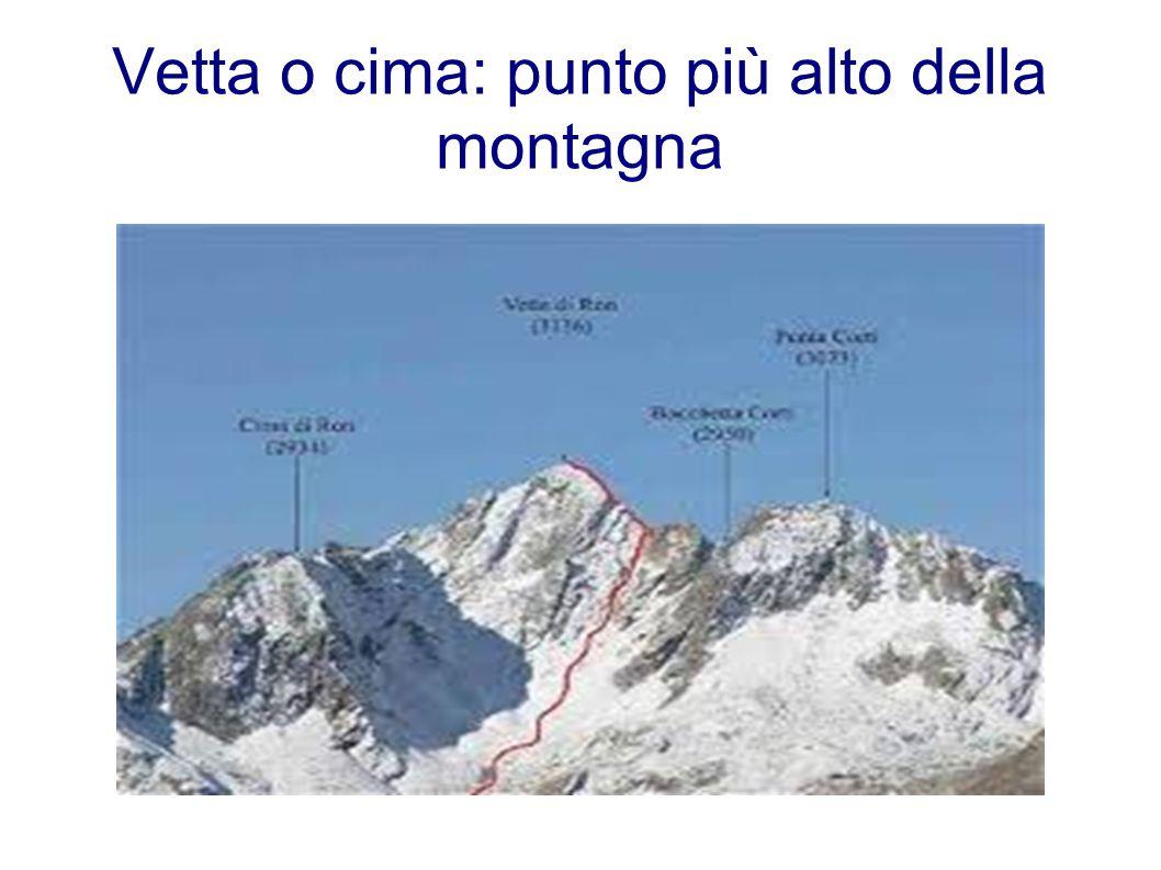 Vetta o cima: punto più alto della montagna