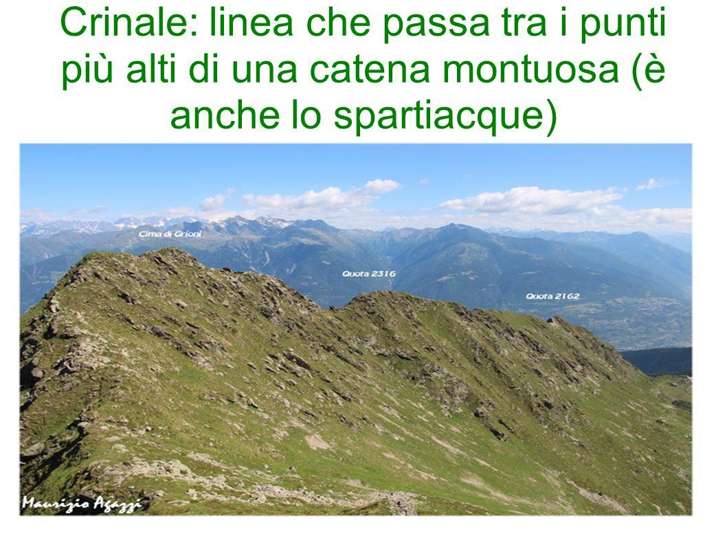 Crinale: linea che passa tra i punti più alti di una catena montuosa (è anche lo spartiacque)