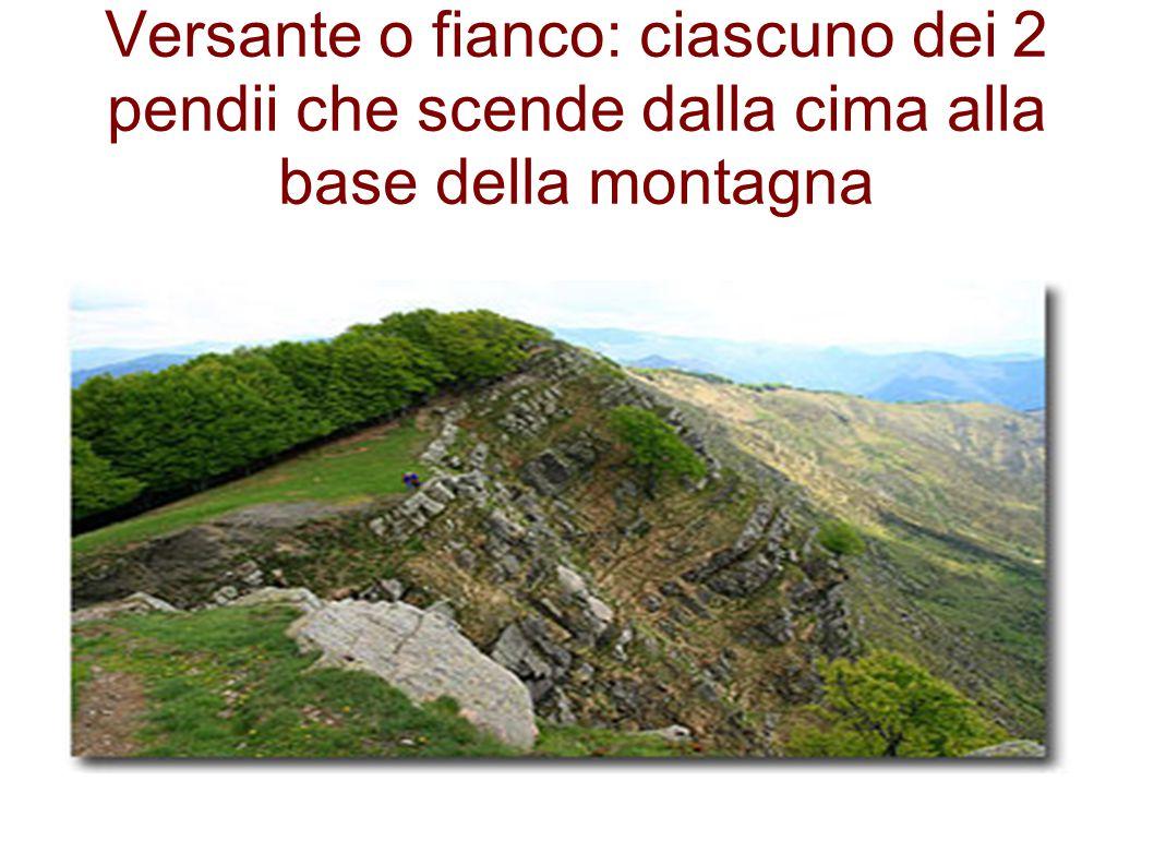 Versante o fianco: ciascuno dei 2 pendii che scende dalla cima alla base della montagna