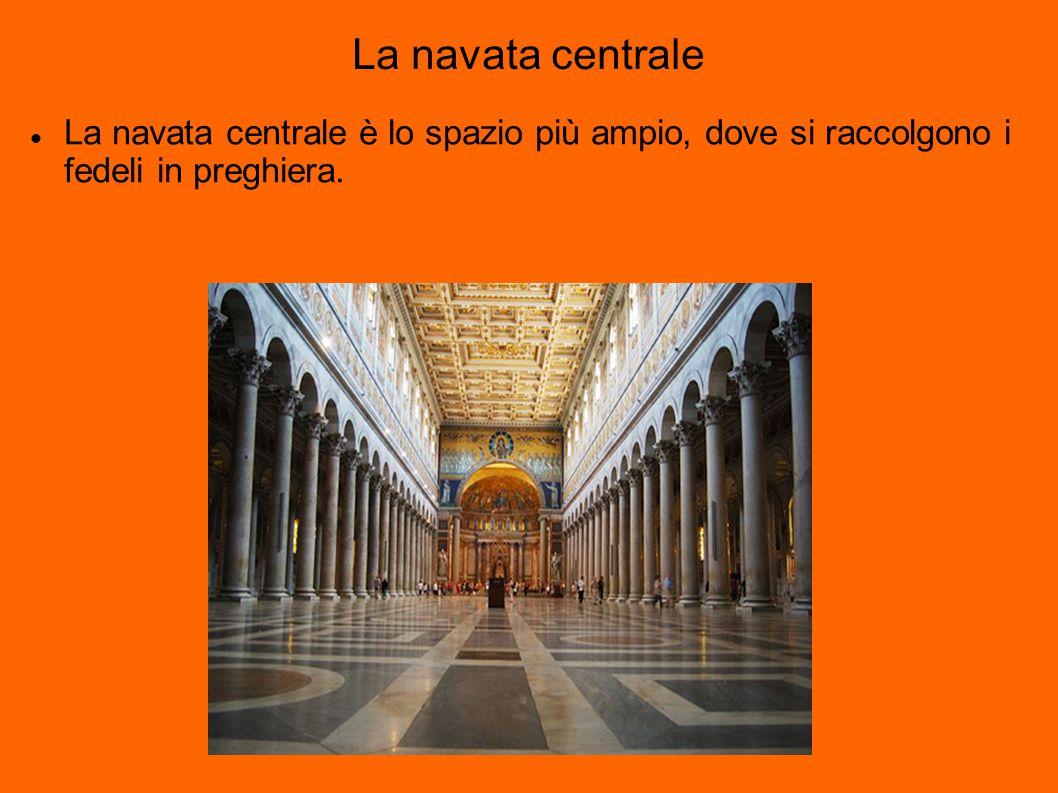 La navata centrale La navata centrale è lo spazio più ampio, dove si raccolgono i fedeli in preghiera.