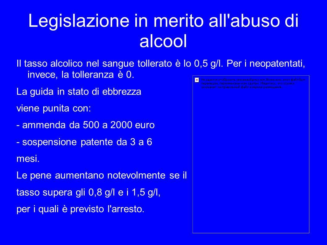 Legislazione in merito all abuso di alcool