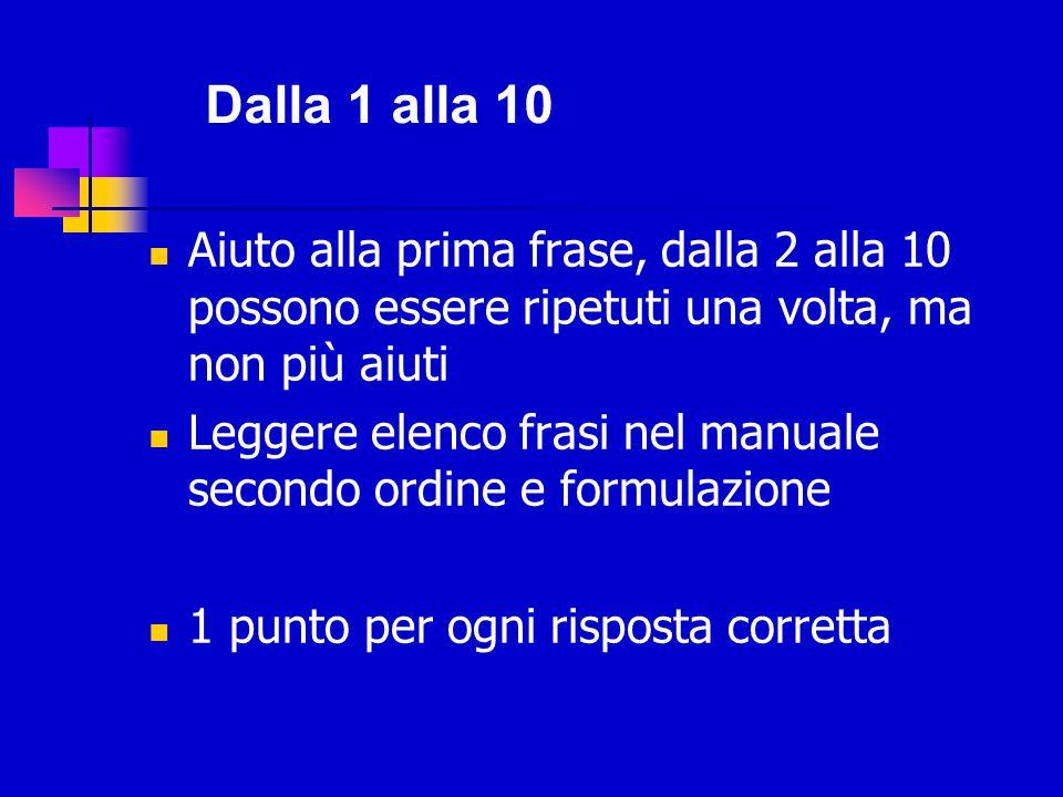 Dalla 1 alla 10 Aiuto alla prima frase, dalla 2 alla 10 possono essere ripetuti una volta, ma non più aiuti.