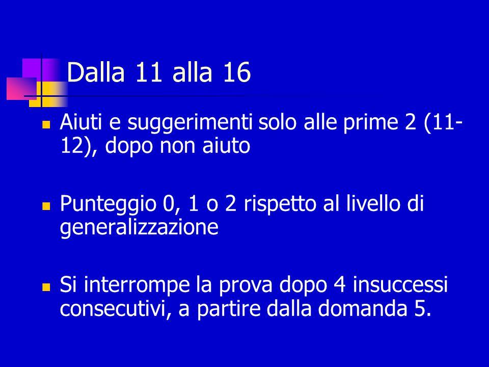 Dalla 11 alla 16 Aiuti e suggerimenti solo alle prime 2 (11- 12), dopo non aiuto. Punteggio 0, 1 o 2 rispetto al livello di generalizzazione.
