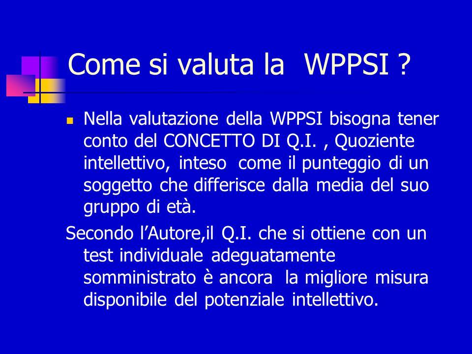 Come si valuta la WPPSI