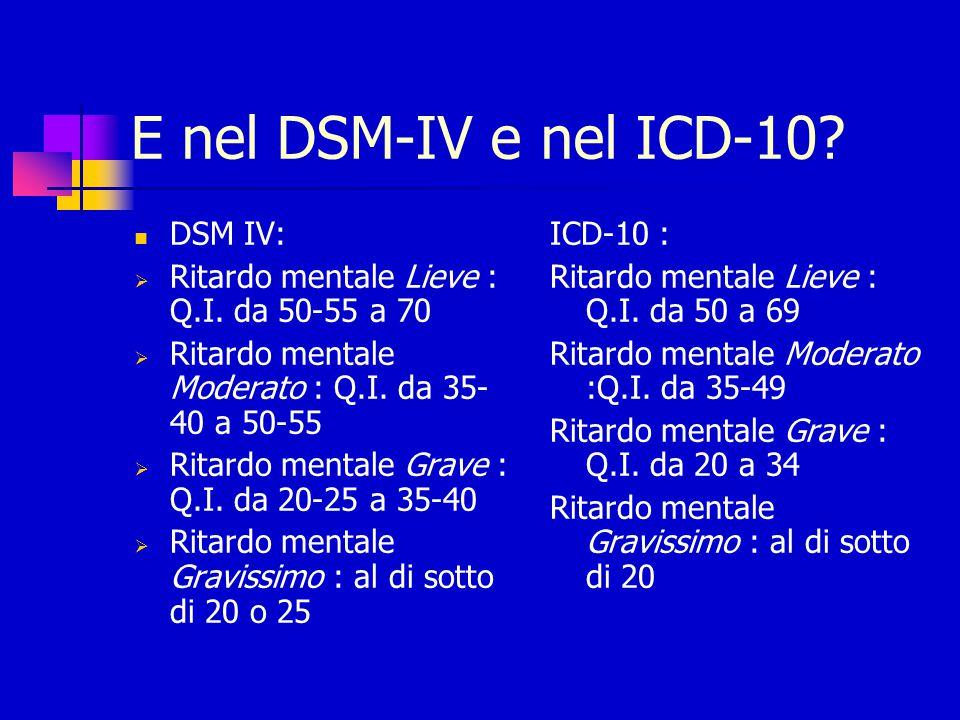 E nel DSM-IV e nel ICD-10 DSM IV: