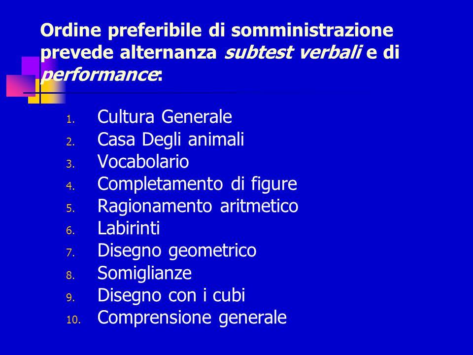 Ordine preferibile di somministrazione prevede alternanza subtest verbali e di performance: