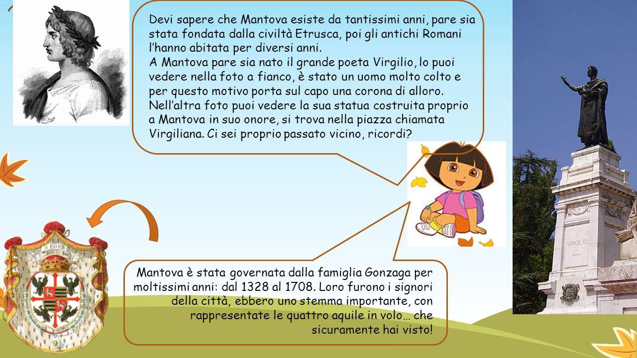 Devi sapere che Mantova esiste da tantissimi anni, pare sia stata fondata dalla civiltà Etrusca, poi gli antichi Romani l'hanno abitata per diversi anni.