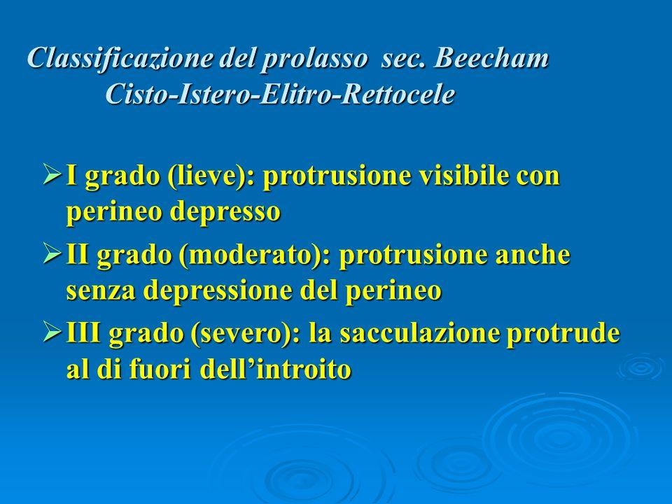 Classificazione del prolasso sec. Beecham Cisto-Istero-Elitro-Rettocele