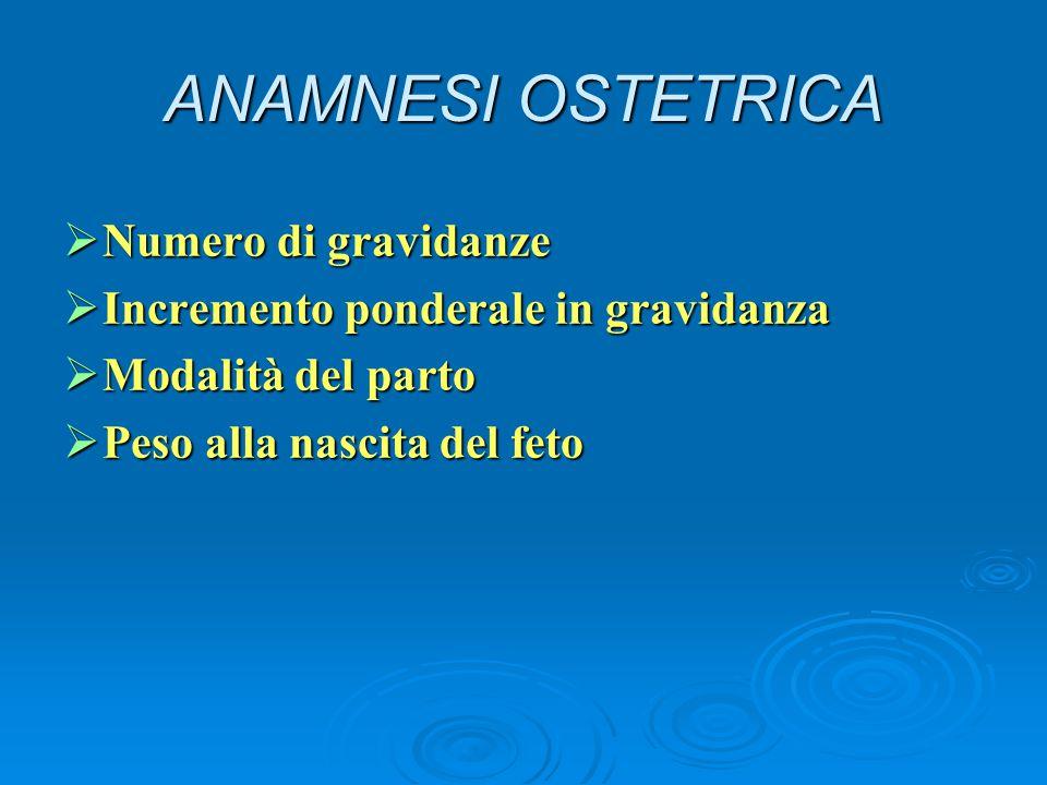 ANAMNESI OSTETRICA Numero di gravidanze