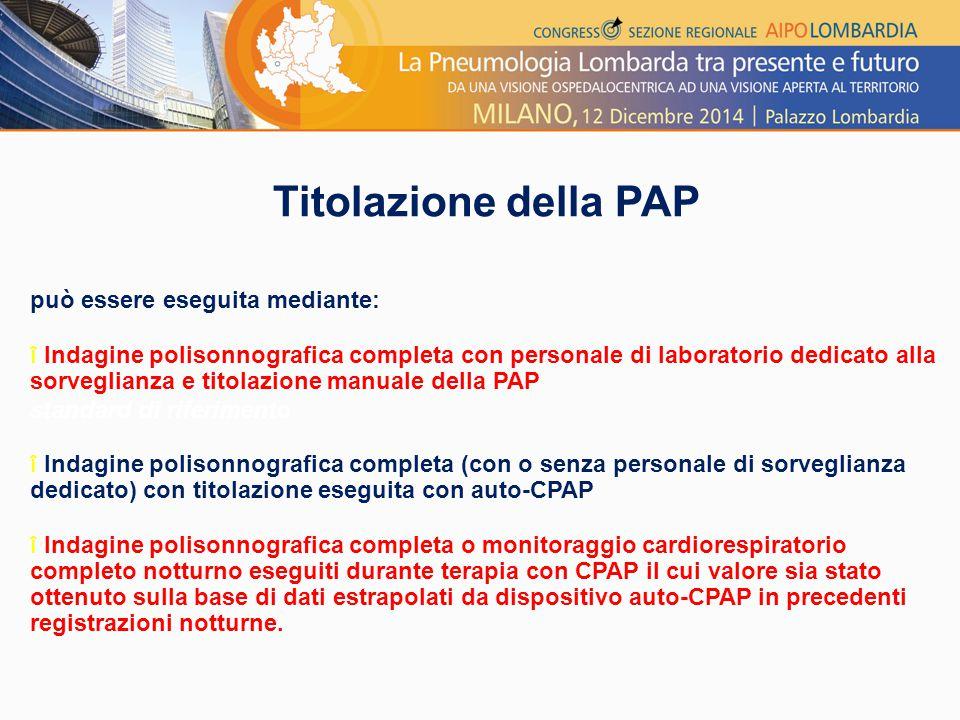 Titolazione della PAP può essere eseguita mediante: