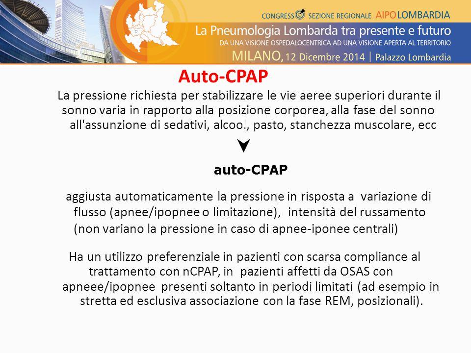 Auto-CPAP La pressione richiesta per stabilizzare le vie aeree superiori durante il.