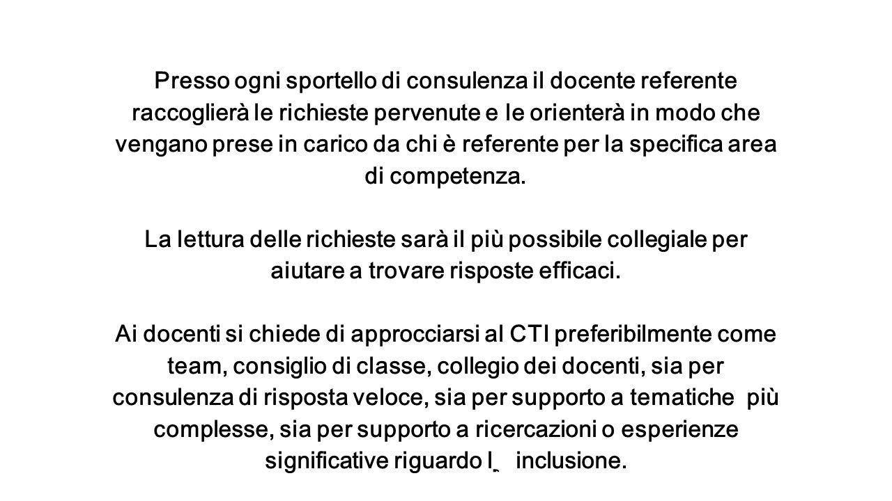 Presso ogni sportello di consulenza il docente referente raccoglierà le richieste pervenute e le orienterà in modo che vengano prese in carico da chi è referente per la specifica area di competenza.